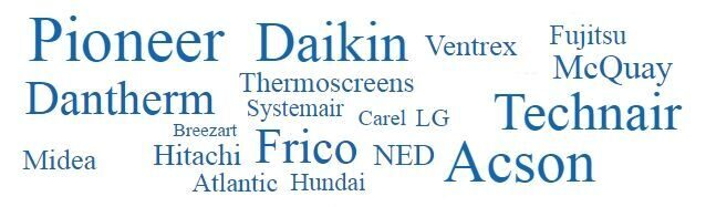 Breezart, Carel, Daikin, Dantherm, Midea, Mitsubichi electric, NED и Pioneer